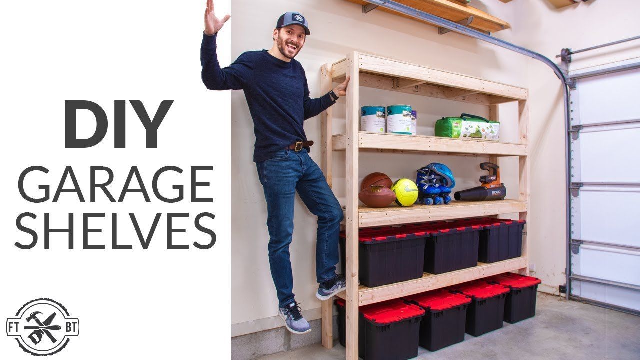 Simple and strong 2x4 garage storage shelves you can build.